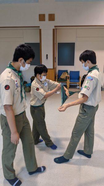 ボーイ隊 基本訓練(国旗儀礼・ロープワーク)